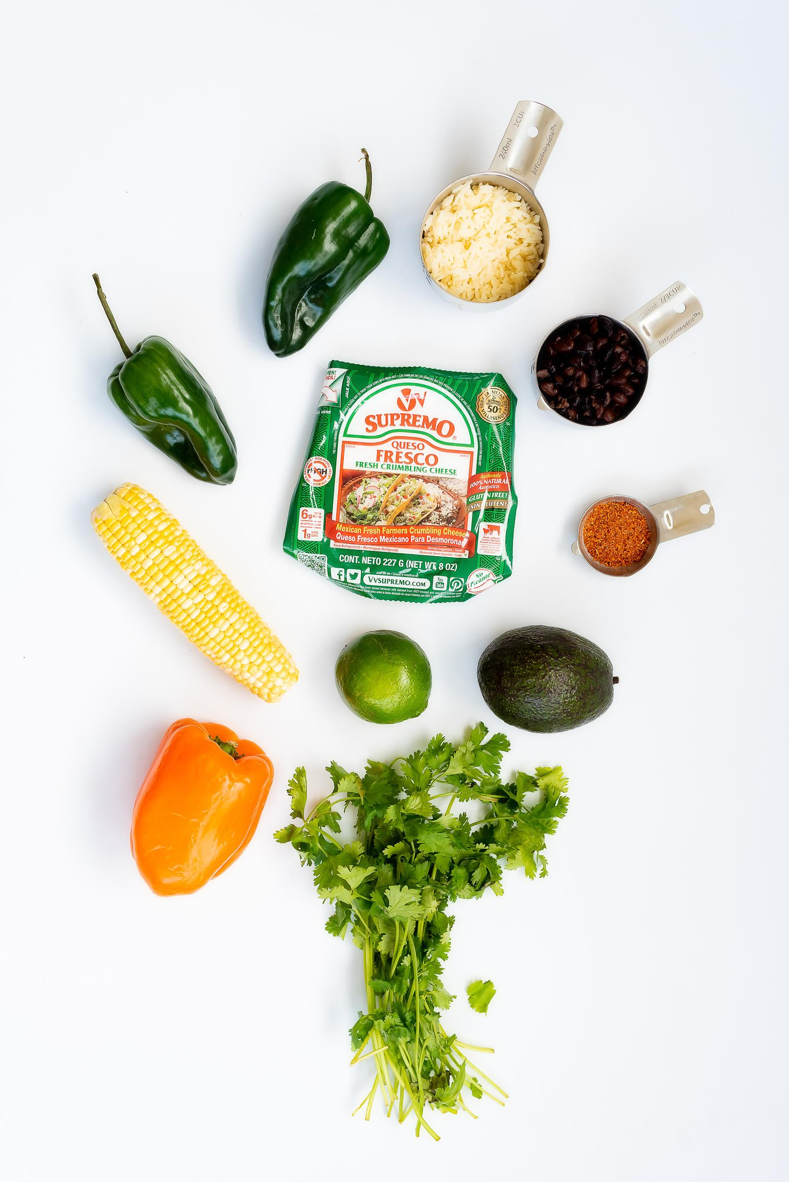 Poblano & Elotes Burrito Bowl Recipe with V&V Supremo