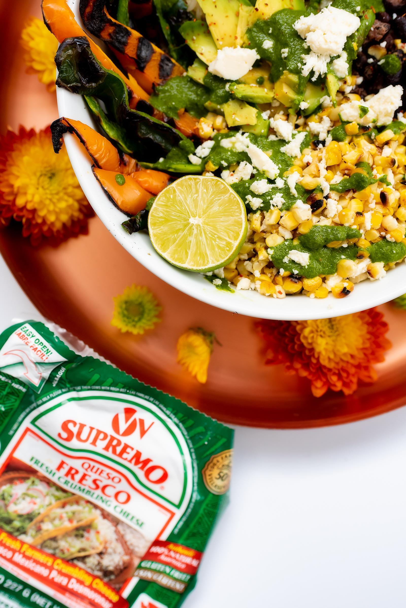 Poblano & Elotes Burrito Bowl Recipe with V&V Supremo