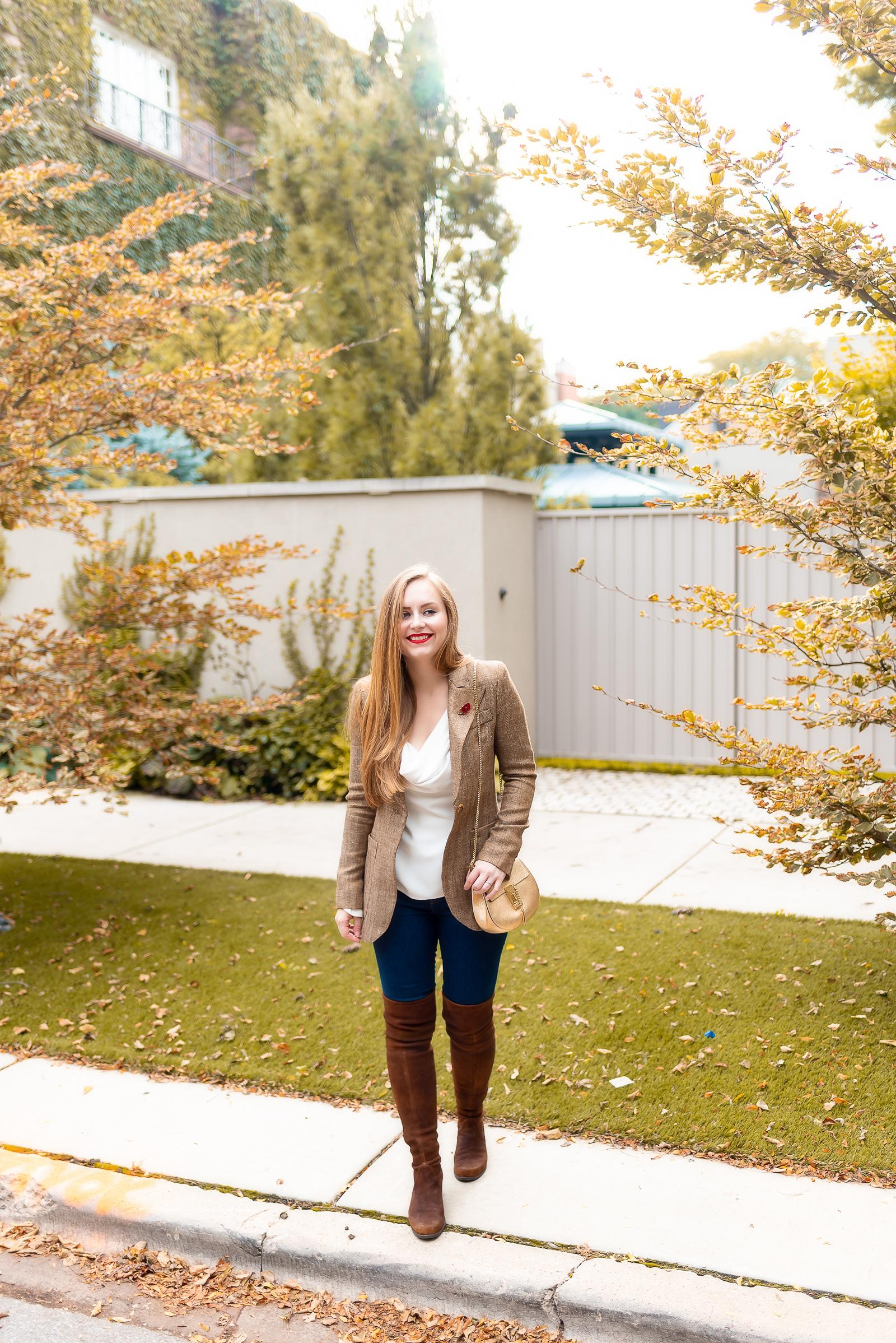 Fall Blazer Over the Knee Boots Outfit