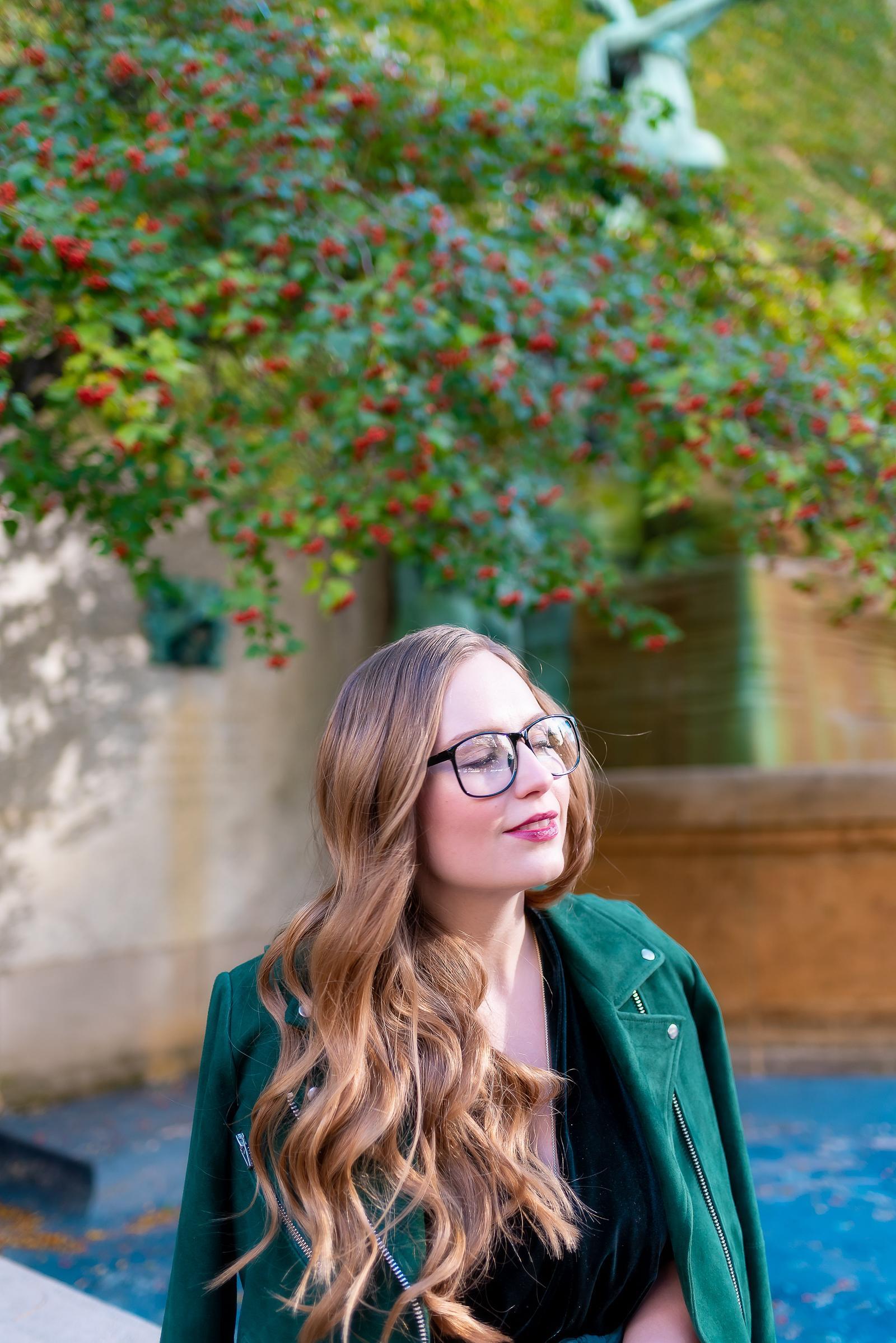 Green Velvet Fall Outfit